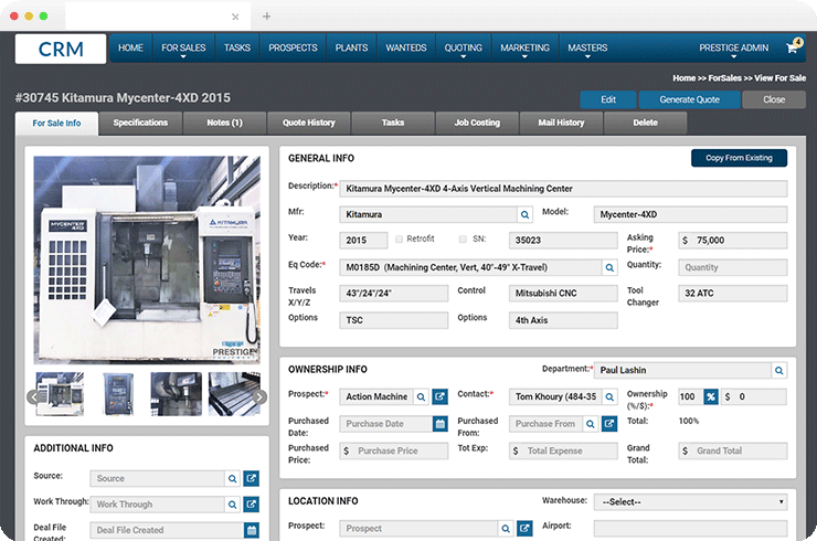 .Net based CRM Application for World's Leading Provider of Manufacturing Machinery