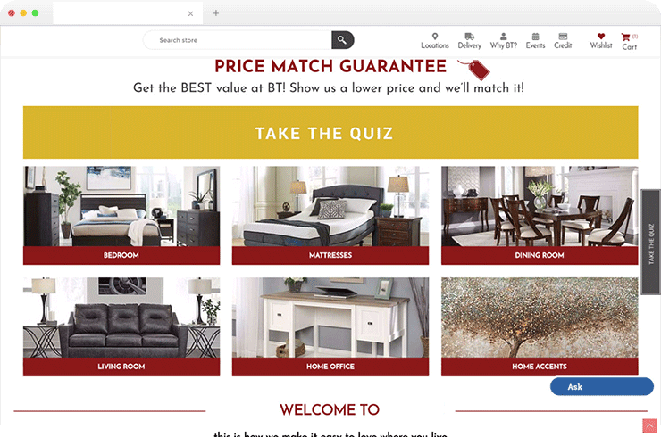 Online store based on NopCommerce for a 30-year-old American Furnishing & Home Decor Brand